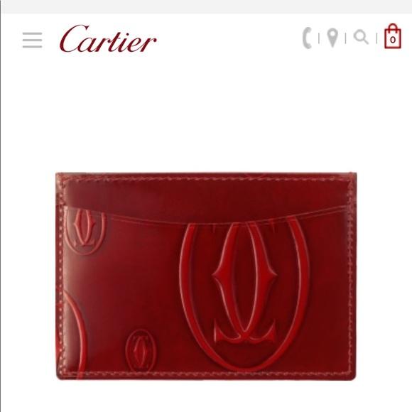 3a4c10149082 NEW in box - Cartier burgundy calfskin card holder